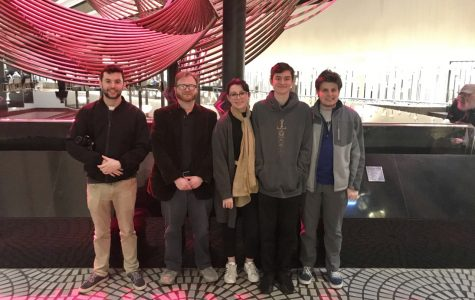 Members of The Bolt Staff. From left to right, Editor-In-Chief Jack Allsopp, Professor/Advisor Jesse Miller, Staff writers, Beanie Lowery, Kane Emerson, and Matt Demers.
