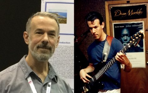 Dr. Glenn Stevenson at the 2019 Experimental Biology Conference (left), and again circa 1994 rehearsing with his band at their space in downtown Boston (right).