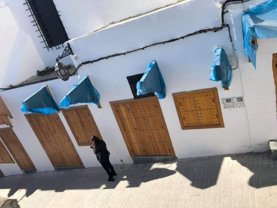 The new door and window installations in the Tangier Medina.